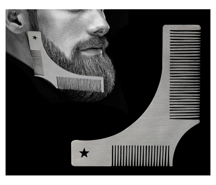Custom logo Metal stainless steel beard shaping comb for